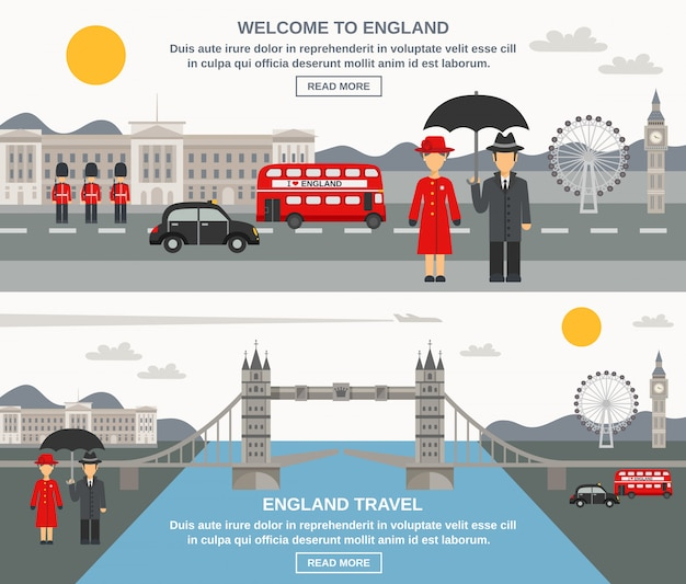 Englad culture flat banners set Free Vector