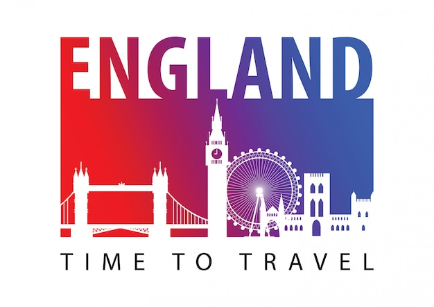 England famous landmark silhouette style Premium Vector