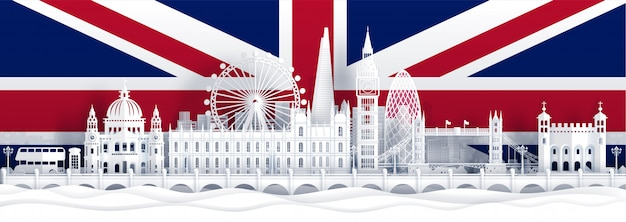 England flag and famous landmarks in paper cut Premium Vector