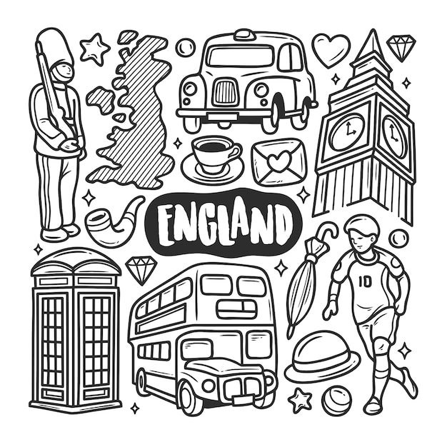Inghilterra icone disegnate a mano doodle da colorare Vettore gratuito