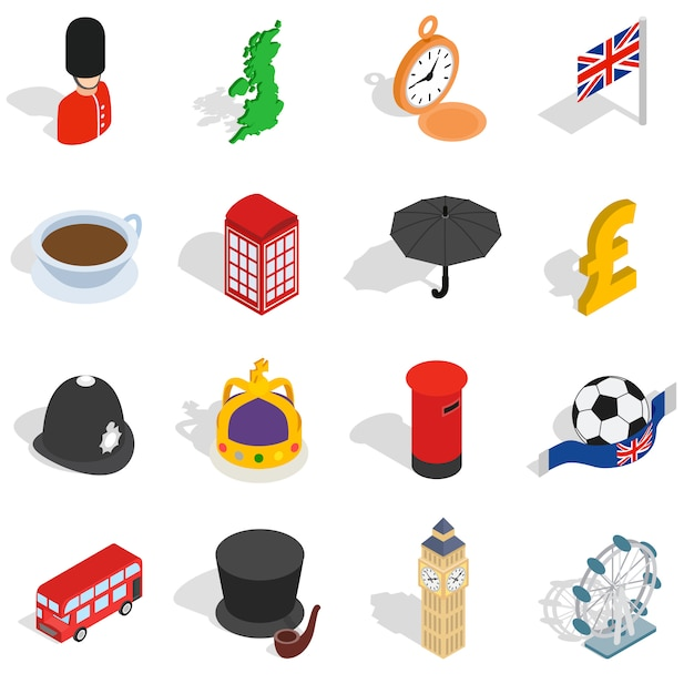 England icons set in isometric 3d style. london set collection isolated vector illustration Premium Vector