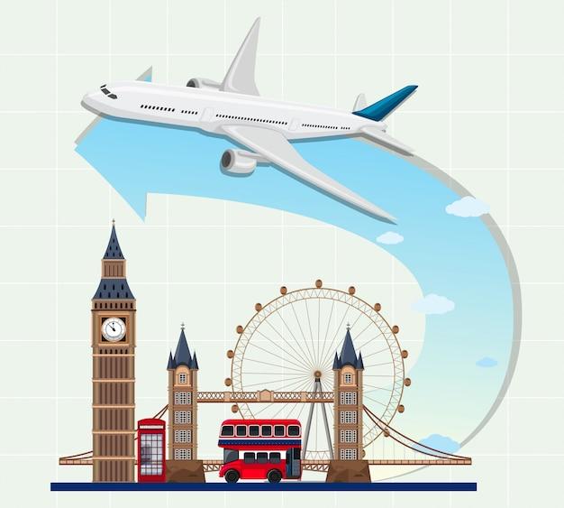 England landmarks with airplane Premium Vector