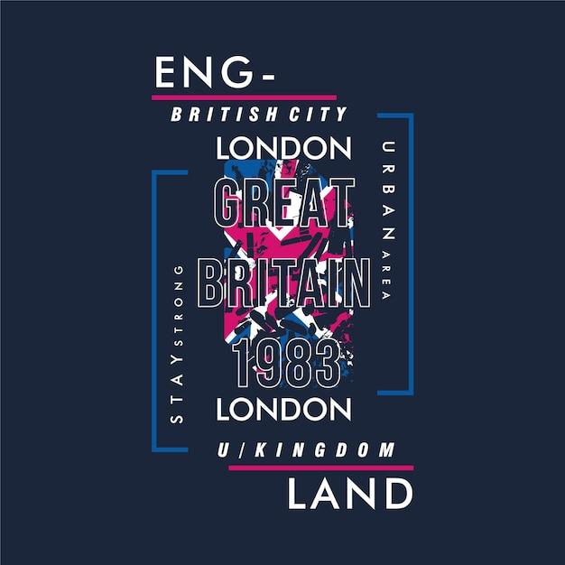 Англия текстовый фрейм типография с флагом фоном современный винтаж для футболки Premium векторы