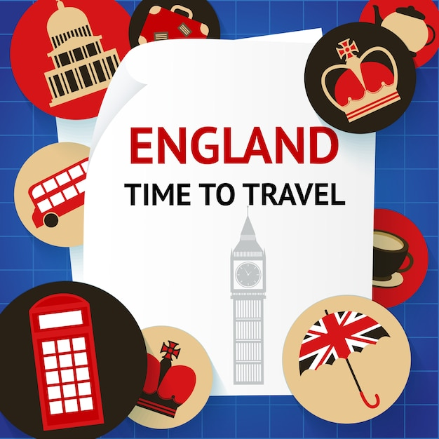 England time to travel london Premium Vector