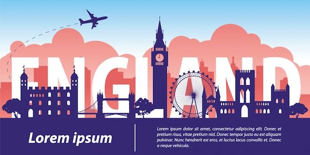 England  top famous landmark Premium Vector