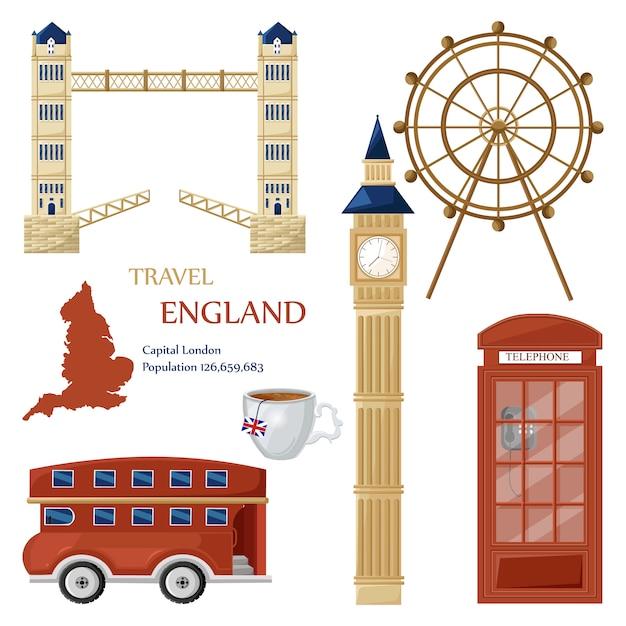 England travel landmarks collection Premium Vector