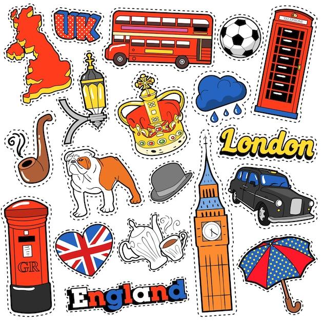 Наклейки, нашивки, значки для принтов с лондонским такси, королевской короной и британскими элементами в англии. каракули в стиле комиксов Premium векторы