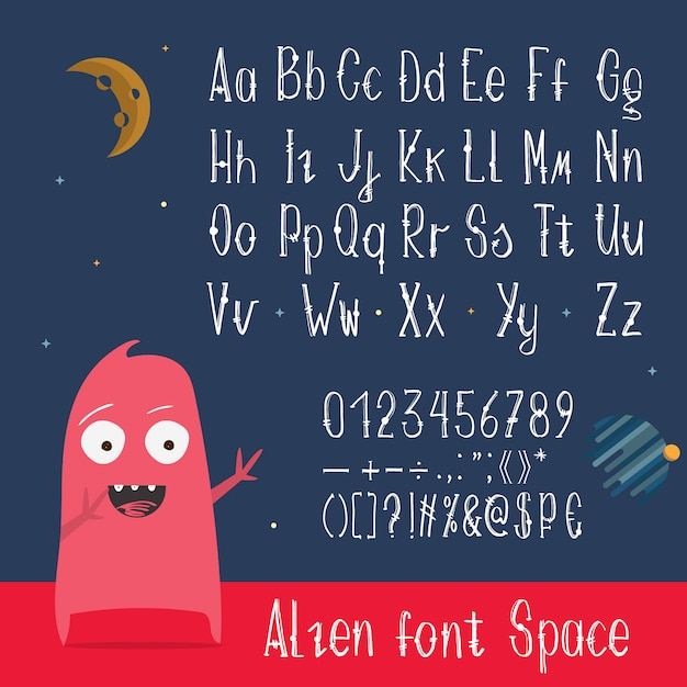 English abc letters, numbers and symbols Free Vector