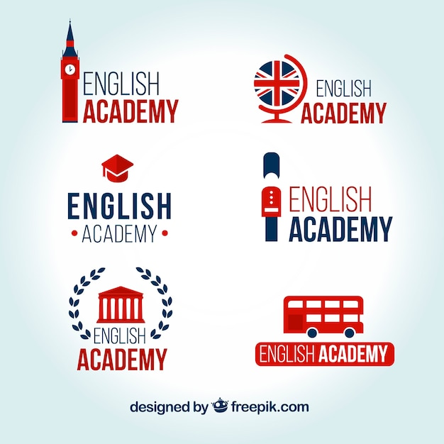 English academy logos set Free Vector