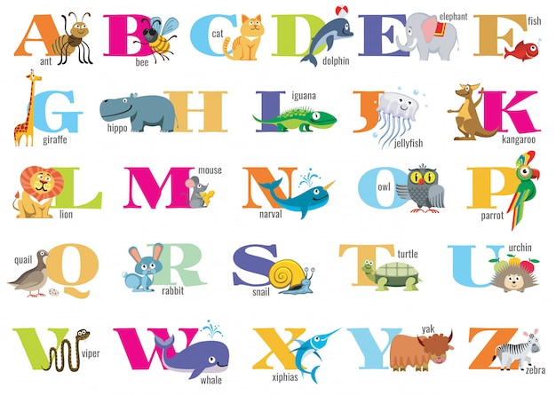 English alphabet for children with cute animals Premium Vector