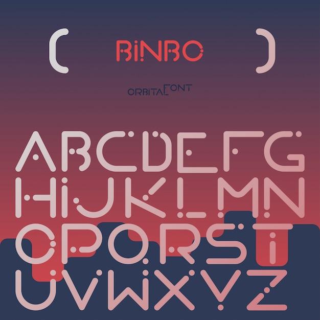 English alphabet digital letters flat set Free Vector