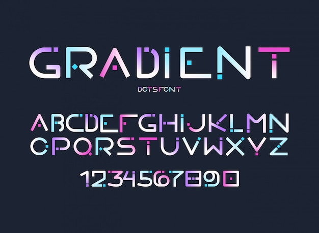 English alphabet gradient letters, digits vector Free Vector