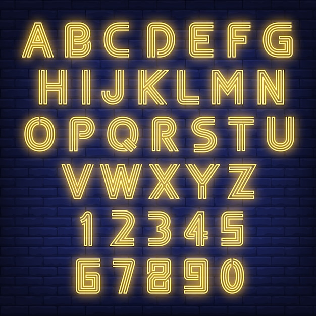 English alphabet neon sign. glowing letters and figures on dark brick wall background. Free Vector