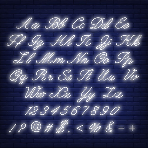English alphabet neon sign Free Vector