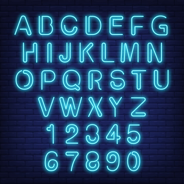 English alphabet and numbers. neon sign with blue letters. Free Vector