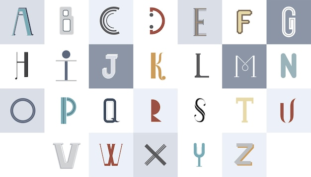 The english alphabet typography illustration Free Vector
