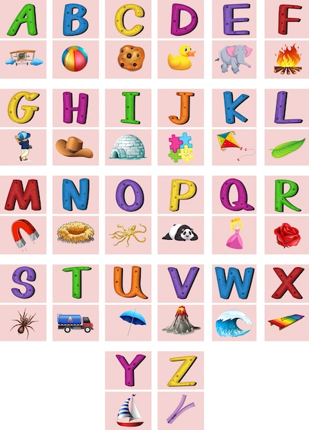 English alphabets a to z with pictures Vector | Free Download