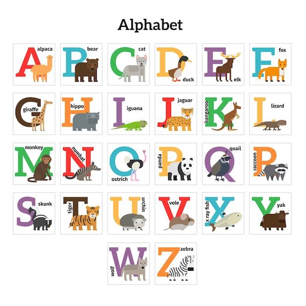 English animals zoo alphabet Premium Vector