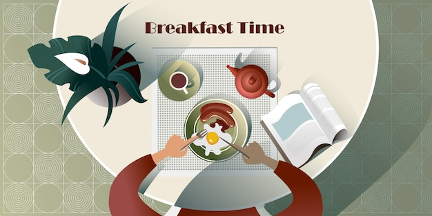 English breakfast time with a book. top view illustration Premium Vector