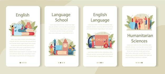 영어 수업 모바일 응용 프로그램 배너 세트. 학교 나 대학에서 외국어를 공부합니다. 글로벌 커뮤니케이션의 아이디어. 외국어 어휘 공부. 프리미엄 벡터