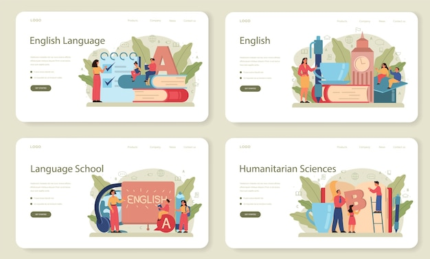 English class web banner or landing page set. study foreign languages in school or university. idea