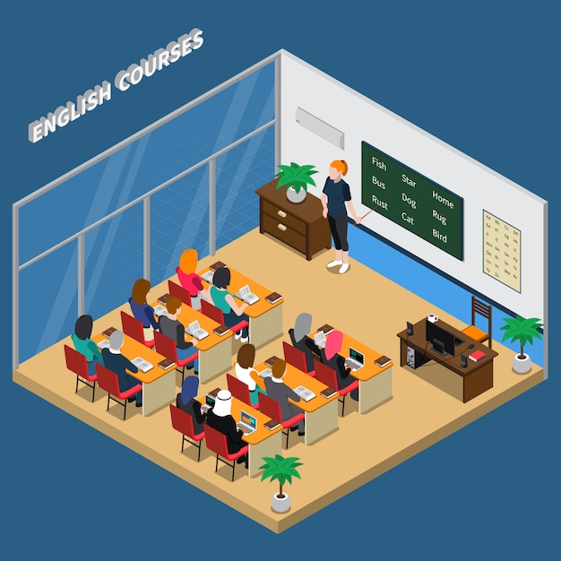 English courses isometric composition Free Vector