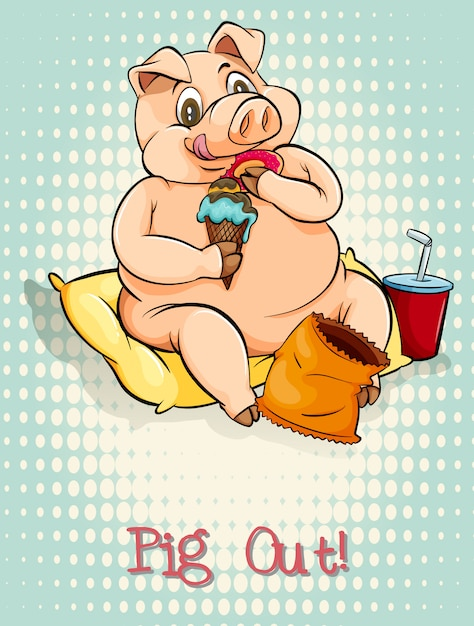 English idiom pig out Free Vector