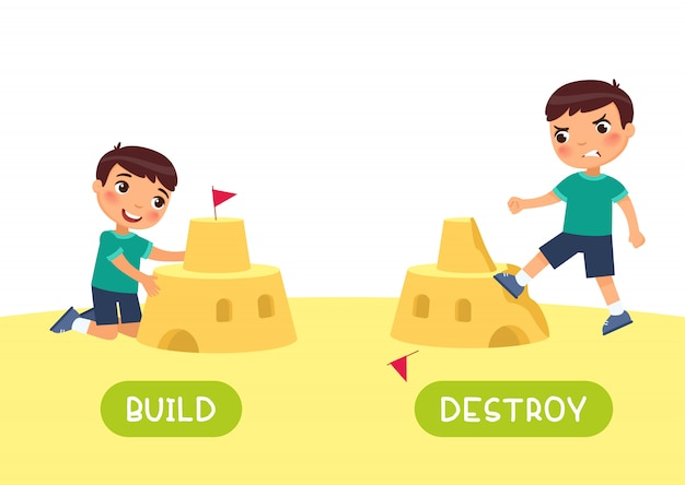 English language educational flash card vector template. word card with opposites. antonyms concept, build and destroy. boy constructing and ruining sand castle flat illustration with typography Premium Vector