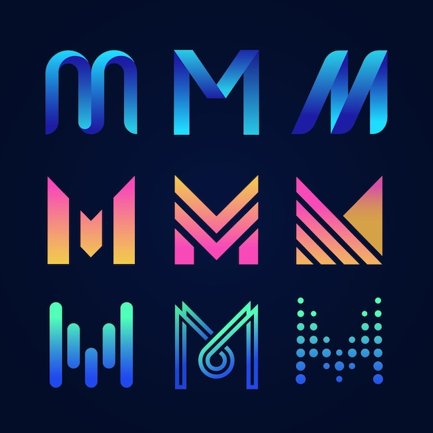 English letter m logo collection Free Vector