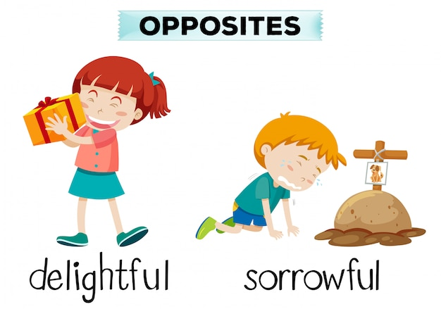 English opposite word of delightful and sorrowful Free Vector