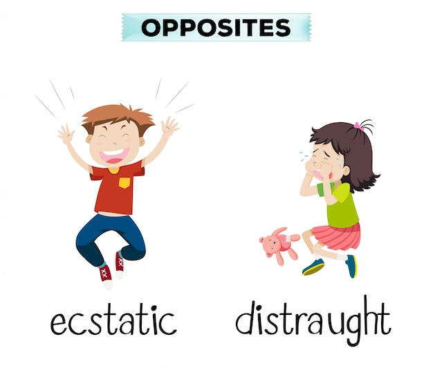 English opposite word of ecstatic and distraught Free Vector