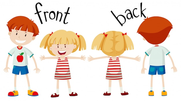 English opposite word of front and back Free Vector