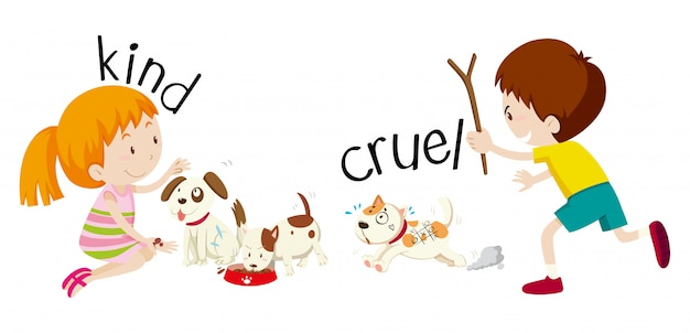English opposite word kind and cruel Free Vector