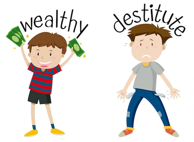 English opposite word of wealthy and destitute Free Vector