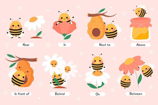 ミツバチとの英語の前置詞 無料ベクター