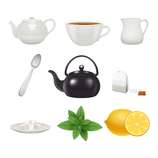 English traditional tea time porcelain cup pot icons set with mint flavor teabag Free Vector