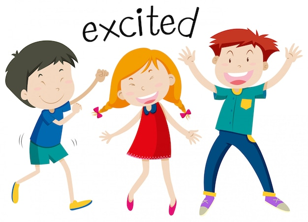 English vocabulary of excited Free Vector