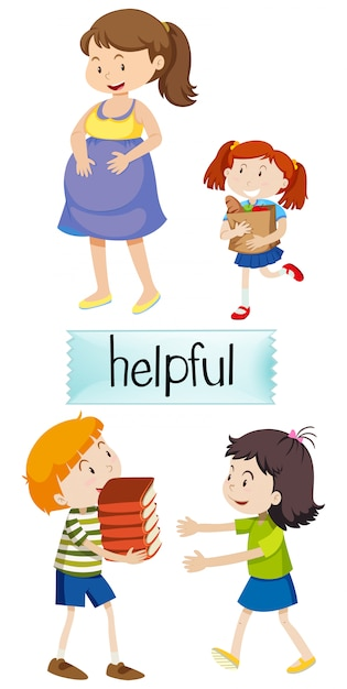 English vocabulary of helpful Free Vector