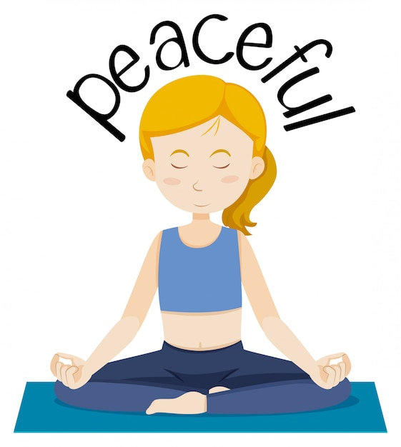 English vocabulary word peaceful Free Vector