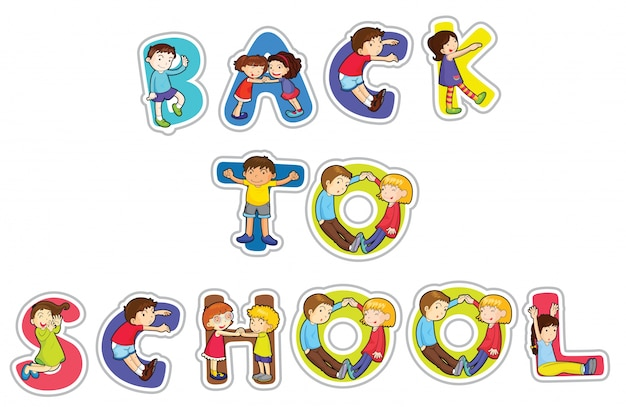 English word back to school Free Vector