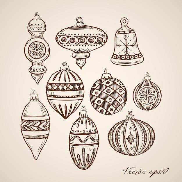 Гравированные рождественские иллюстрации Бесплатные векторы
