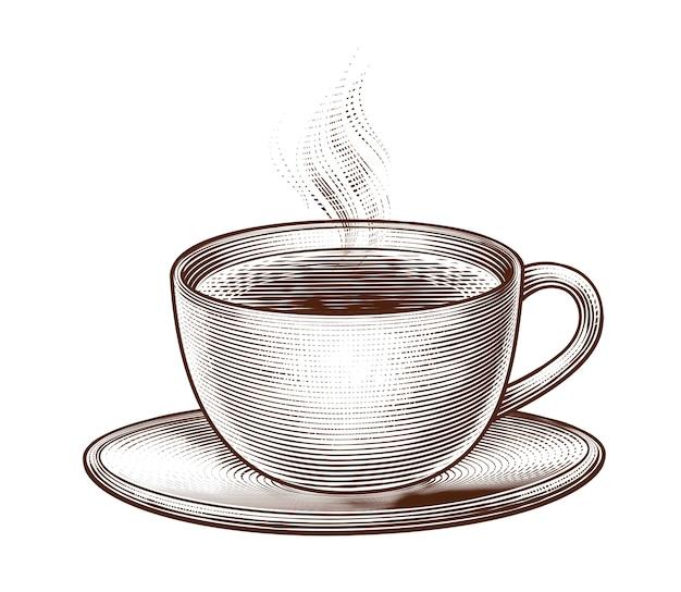 Гравированная чашка кофе на белом фоне Premium векторы