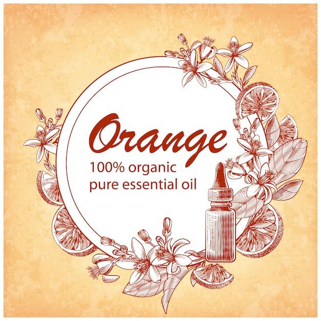オレンジ色の果物、葉、咲く花が刻まれたエッセンシャルオイル。柑橘類のダイダイとガラススポイトボトルの手描き。化粧品、医薬品、トリートメント、アロマテラピー、パッケージデザインのラベル。 無料ベクター