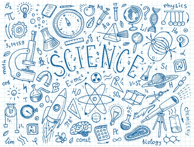 古いスケッチとビンテージスタイルで描かれた刻まれた手。科学の公式と物理学と数学、化学と生物学の計算またはホワイトボードの天文学。教育と科学。 Premiumベクター