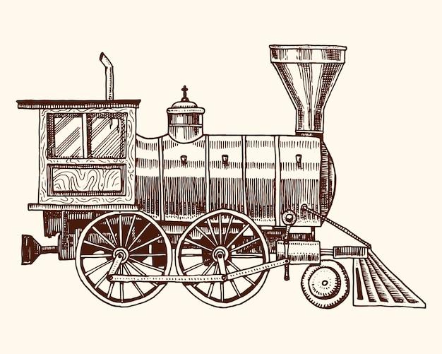 Выгравированный год сбора винограда, нарисованная рука, старый локомотив или поезд с паром на американской железной дороге. ретро транспорт. Premium векторы