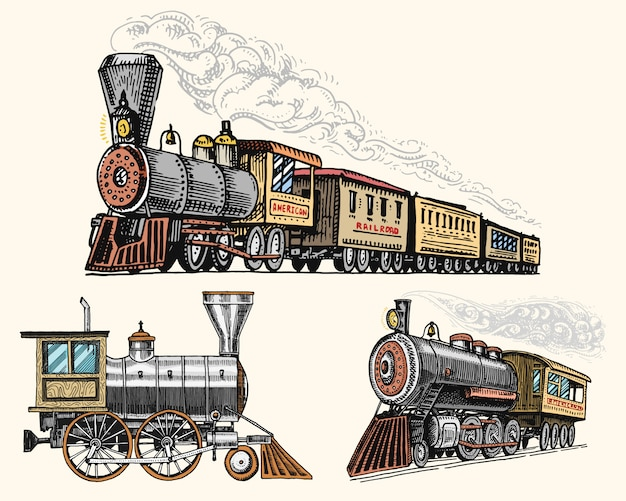 Engraved vintage, hand drawn, old locomotive or train with steam on american railway. retro transport. Premium Vector