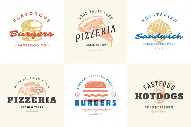 Engraving fast food logos and labels with modern vintage typography hand drawn style set. Premium Vector