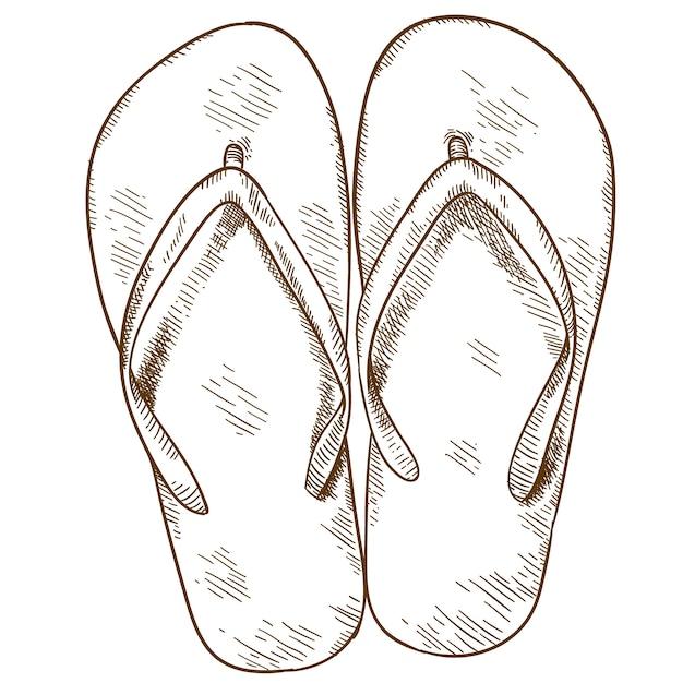Engraving illustration of flip-flops Premium Vector