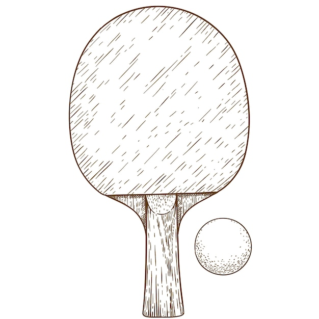 Engraving illustration of ping pong table tennis racket and ball Premium Vector
