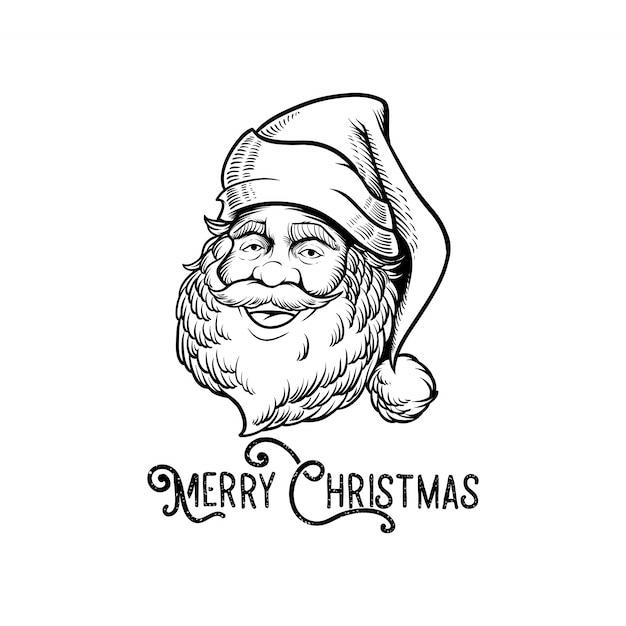 Engraving logo santa claus with font merry christmas Premium Vector